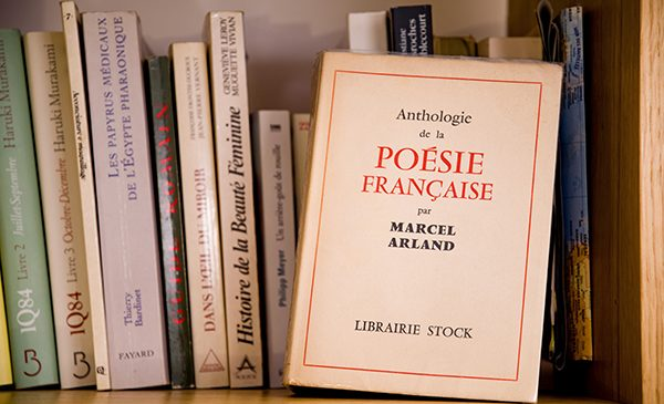 French books on a shelf.