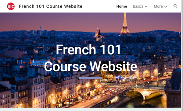 screenshot of French 101 Course Website