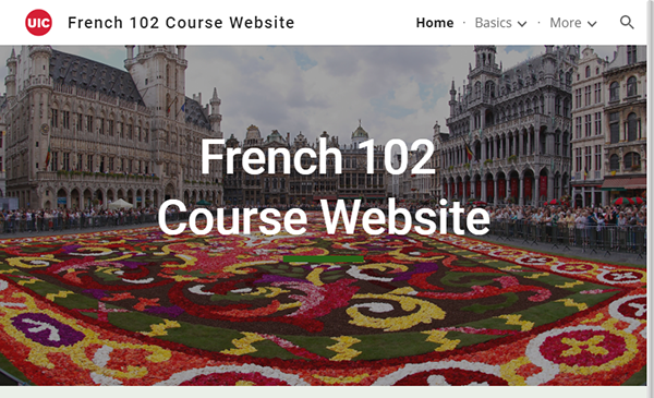 screenshot of French 102 Course Website