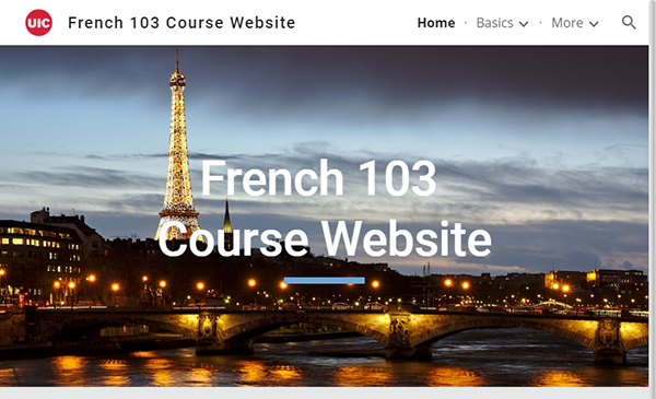 screenshot of French 103 Course Website