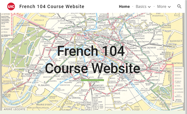 screenshot of French 104 Course Website